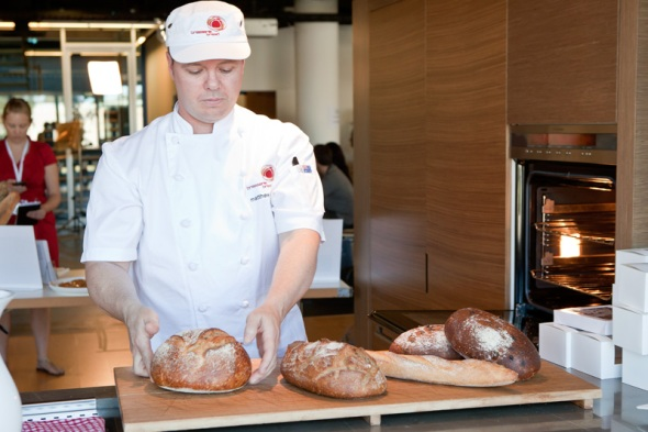 Matt Brock of Brasserie Bread presenting the Bread Masterclass at EDB2011